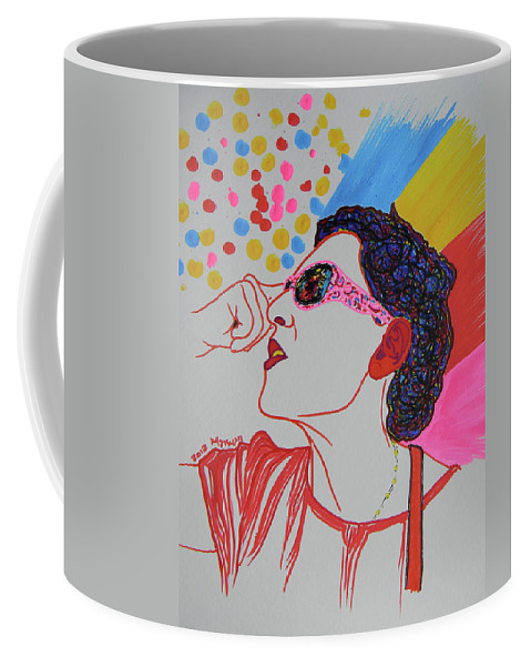 Woman Coffee Mug featuring the drawing Coolpic by Marwan George Khoury