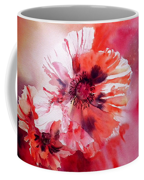 Oriental Poppy Coffee Mug featuring the painting Cosmic Poppies by Ruth Harris