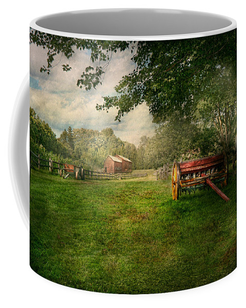 Wagon Coffee Mug featuring the photograph Country - The Crops Almost Ready by Mike Savad