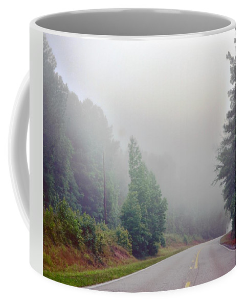 Country Coffee Mug featuring the photograph Country Road Fog by Maria Urso