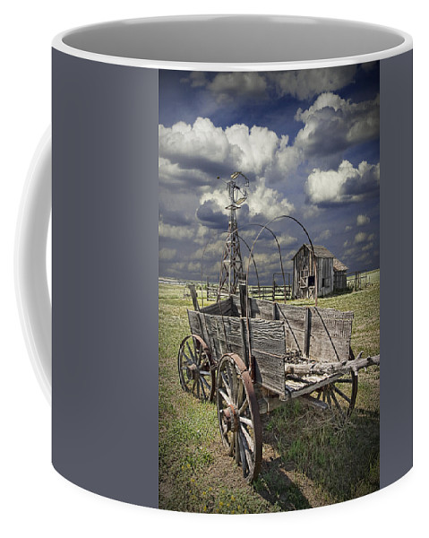 Art Coffee Mug featuring the photograph Covered Wagon And Farm In 1880 Town by Randall Nyhof