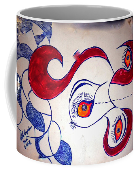 Colette Coffee Mug featuring the drawing Cow Drawing With 3 Eye Opend by Colette V Hera Guggenheim