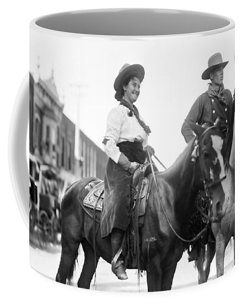 1908 Coffee Mug featuring the photograph Cowboy And Cowgirl, C1908 by Granger