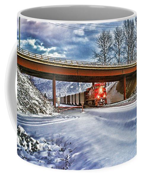 Trains Coffee Mug featuring the photograph Cp Rail Coal Train Under Bridge Hdr by Randy Harris