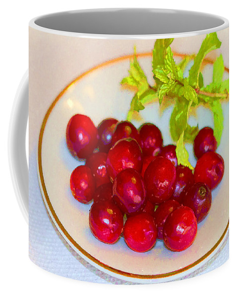 Cranberries Coffee Mug featuring the photograph Cranberries And Mint by Kathy Clark