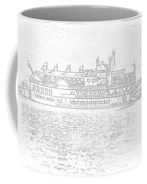 Ship Coffee Mug featuring the photograph Creole Queen Sketch by Jim Chamberlain