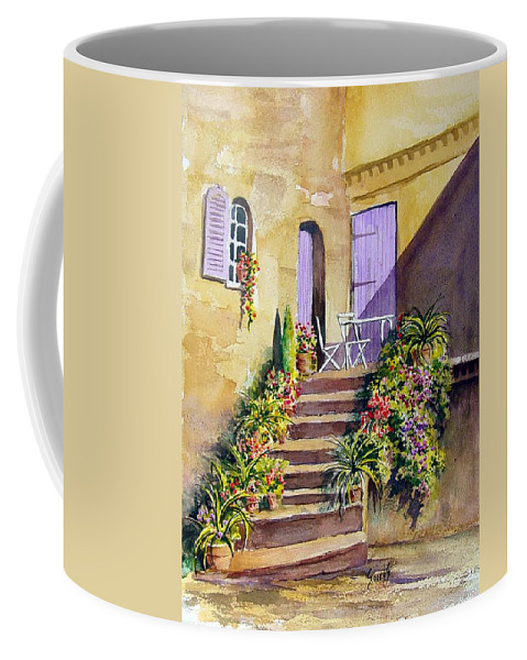 Flowers Coffee Mug featuring the painting Crooked Steps and Purple Doors by Sam Sidders