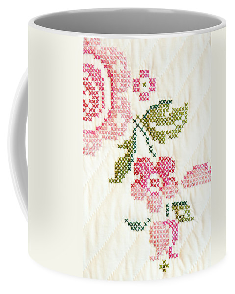 Cross-stitch Coffee Mug featuring the photograph Cross Stitch Flower 1 by Marilyn Hunt