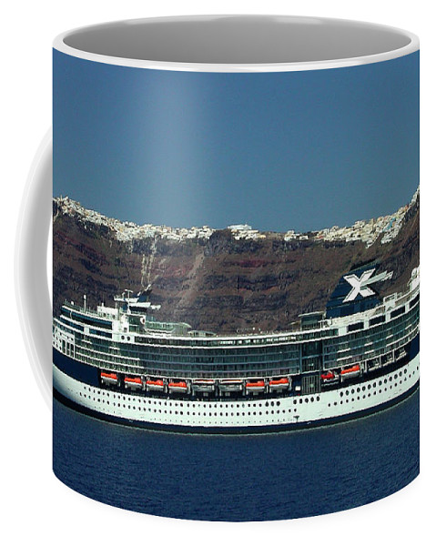 Colette Coffee Mug featuring the photograph Cruiser Leaving Santorini Island by Colette V Hera Guggenheim