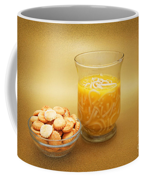 Food Coffee Mug featuring the photograph Cup O Soup And Oyster Crackers by Andee Design