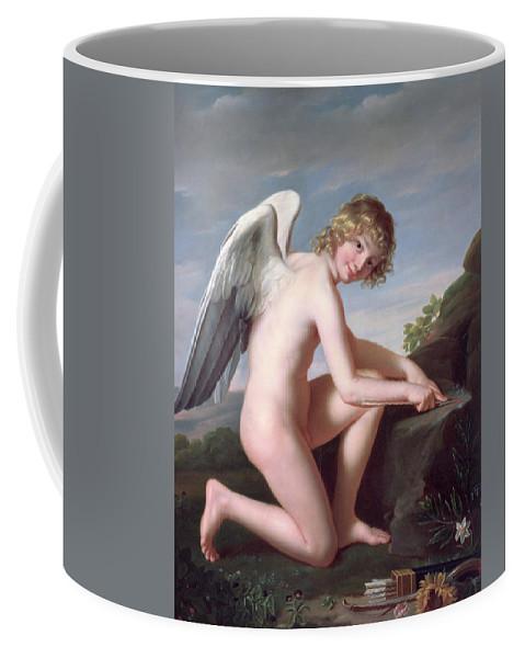 Cupid Sharpening His Arrows Coffee Mug featuring the painting Cupid Sharpening His Arrows by Robert Lefevre