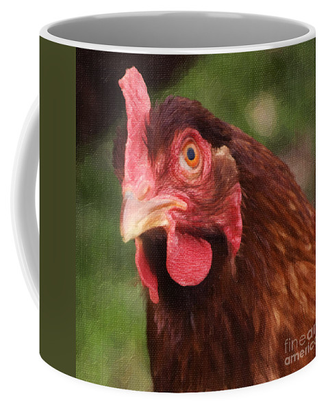 Hen Coffee Mug featuring the photograph Curious Hen by Jim And Emily Bush
