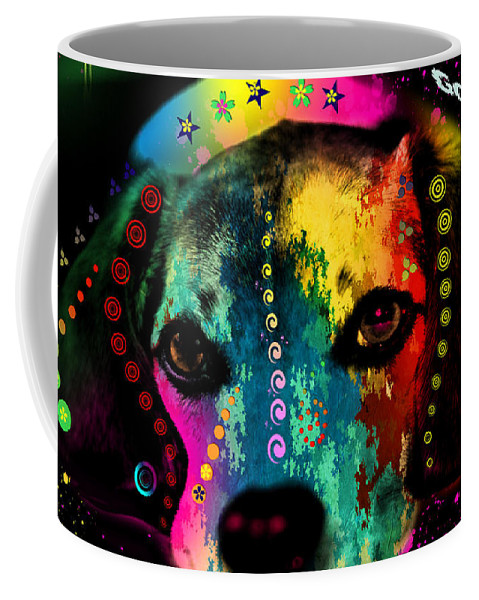 Pop Art Coffee Mug featuring the painting Cute Dog by Mark Ashkenazi