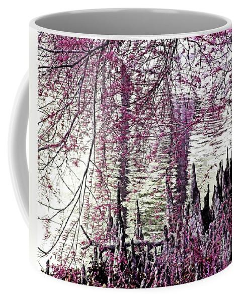 Cypress Coffee Mug featuring the digital art Cypress People Gather by Lizi Beard-Ward