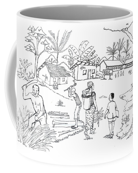 African Art Coffee Mug featuring the drawing Daily Life In South And Center Cameroon 02 by Emmanuel Baliyanga