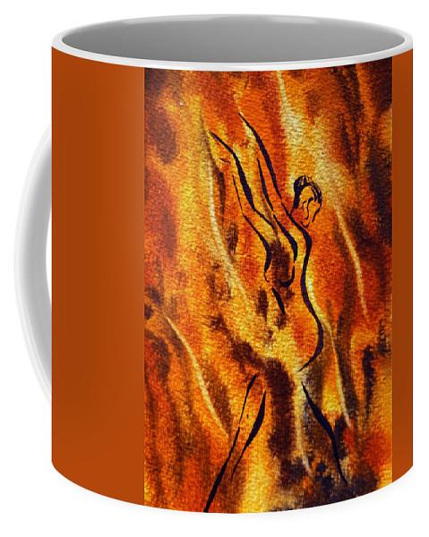Abstract Coffee Mug featuring the painting Dancing Fire Viii by Irina Sztukowski