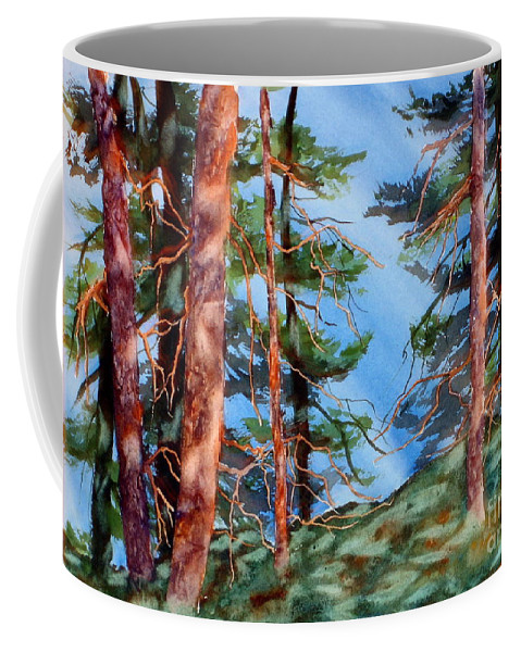 Coffee Mug featuring the painting Dancing Light And Mossy Field by Mohamed Hirji