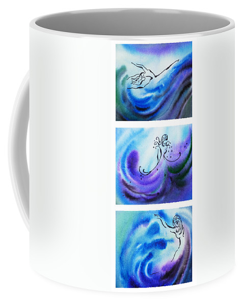Abstract Coffee Mug featuring the painting Dancing Water V by Irina Sztukowski