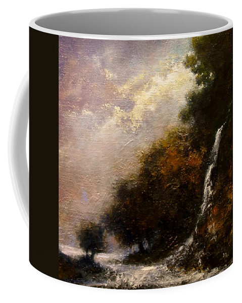 Landscape Coffee Mug featuring the painting Daybreak Falls by Jim Gola