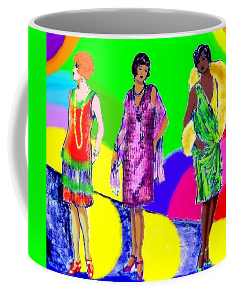 Nostalgia Coffee Mug featuring the drawing Deco 1920s by Mel Thompson