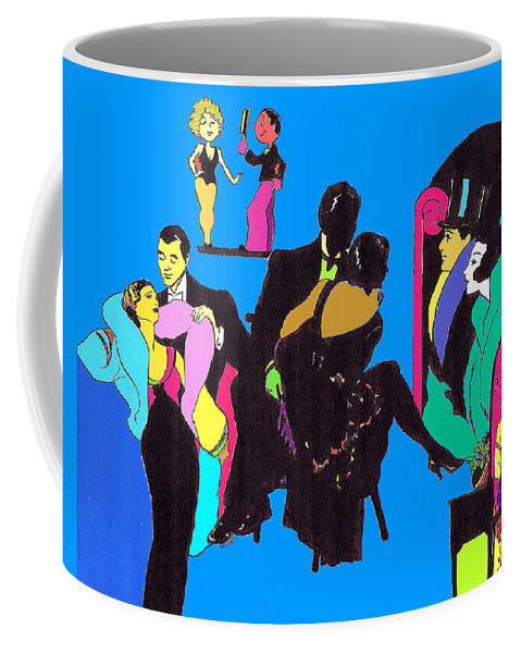 Nostalgia Coffee Mug featuring the drawing Deco Ads Color by Mel Thompson