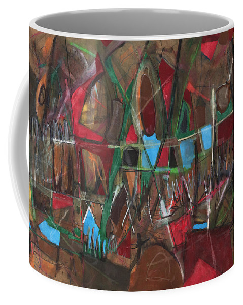 Non-objective Coffee Mug featuring the painting Deep City Three by Lynne Taetzsch