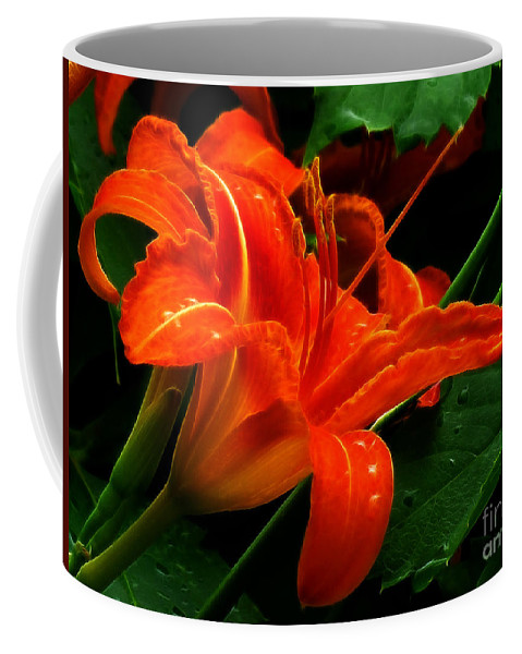 Daylily Coffee Mug featuring the photograph Deep Orange Day Lily by Darleen Stry