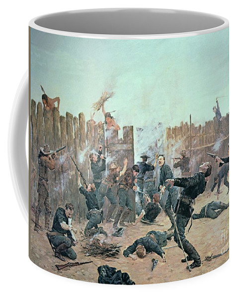War Coffee Mug featuring the painting Defending The Fort by Charles Schreyvogel