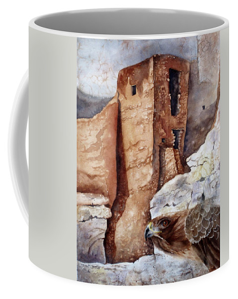 Pueblo Coffee Mug featuring the painting Desert Dwellers by Mary McCullah
