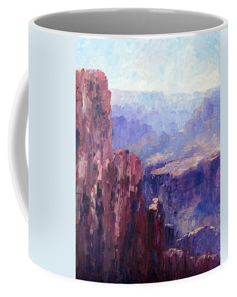 Grand Canyon Coffee Mug featuring the painting Distance by Terry Chacon