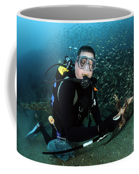 Atlantic Ocean Coffee Mug featuring the photograph Diver Collects Invasive Lionfish by Karen Doody