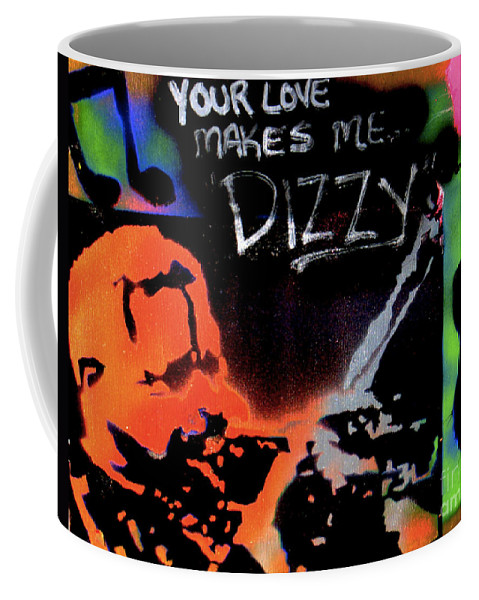Jazz Coffee Mug featuring the painting Dizzy Love by Tony B Conscious