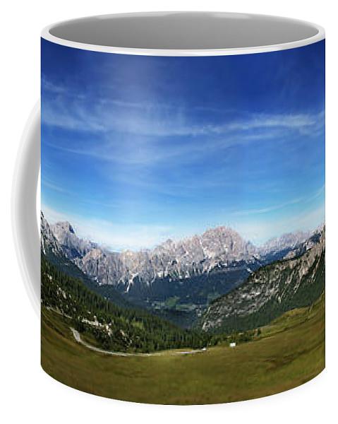 Panoramic Coffee Mug featuring the photograph Dolomiti's Panoramic by Celiane Osimo