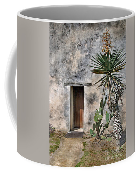Architecture Coffee Mug featuring the photograph Door In Spanish Mission Building by Jill Battaglia
