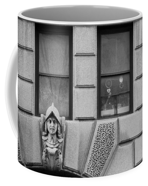 Black And White Coffee Mug featuring the photograph Dos Windows In Black And White by Rob Hans