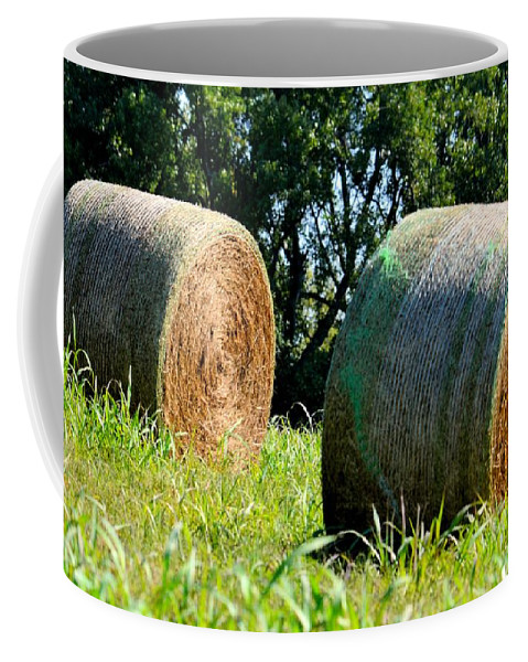 Double Coffee Mug featuring the photograph Double Hay Rolls by Maria Urso