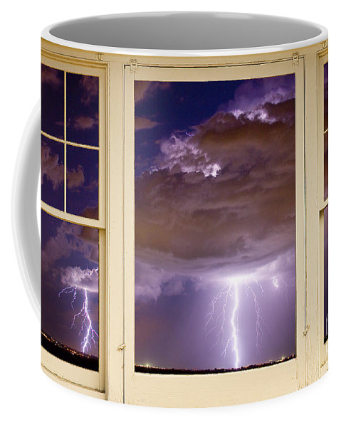 Windows Coffee Mug featuring the photograph Double Lightning Strike Picture Window by James BO Insogna