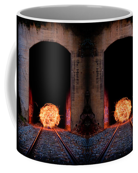 Abstract Coffee Mug featuring the photograph Double Tunnel On Fire by Joye Ardyn Durham