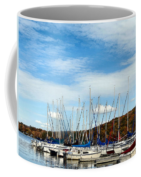 Boat Coffee Mug featuring the photograph Down To The Docks by Art Dingo