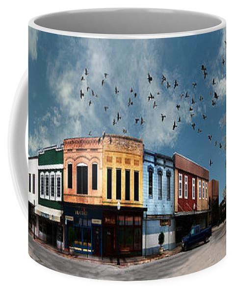 Bryan Coffee Mug featuring the digital art Downtown Bryan Texas 360 Panorama by Nikki Marie Smith