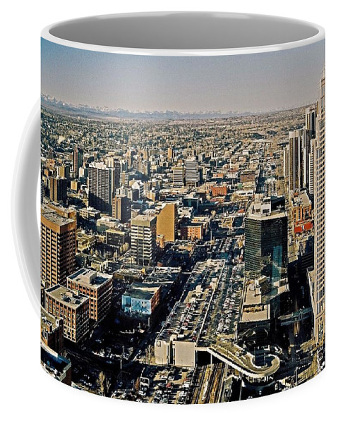 North Armerica Coffee Mug featuring the photograph Downtown Calgary With The Canadian Rockies ... by Juergen Weiss