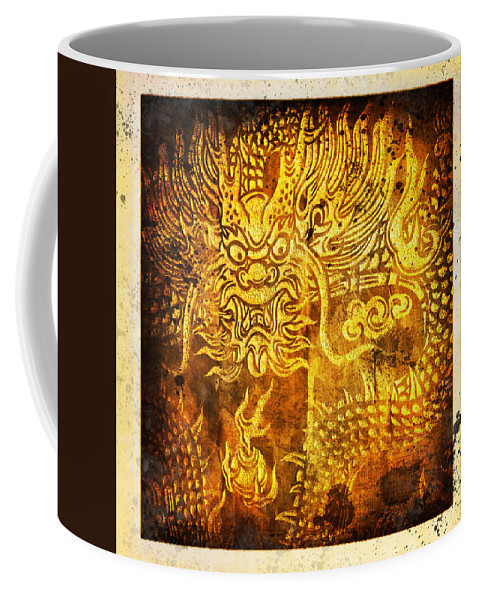 Abstract Coffee Mug featuring the painting Dragon Painting On Old Paper by Setsiri Silapasuwanchai