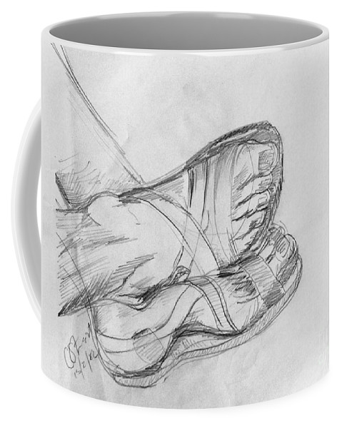 Feet Coffee Mug featuring the drawing Drawing Class. Sandaled Feet by Caroline Street