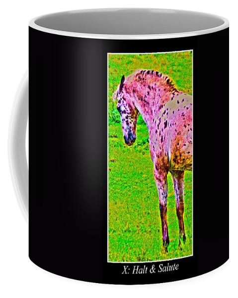 Leopard Coffee Mug featuring the digital art Dressage Test by Betsy Knapp
