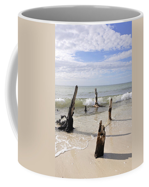 Driftwood Coffee Mug featuring the photograph Driftwood Stands Watch by Christine Stonebridge