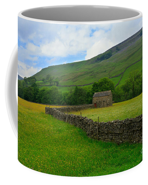 Field Coffee Mug featuring the photograph Dry Stone Walls And Stone Barn by Louise Heusinkveld