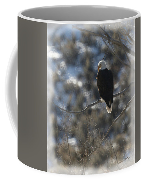 Animal Coffee Mug featuring the photograph Eagle In Tree 2 by Ernie Echols