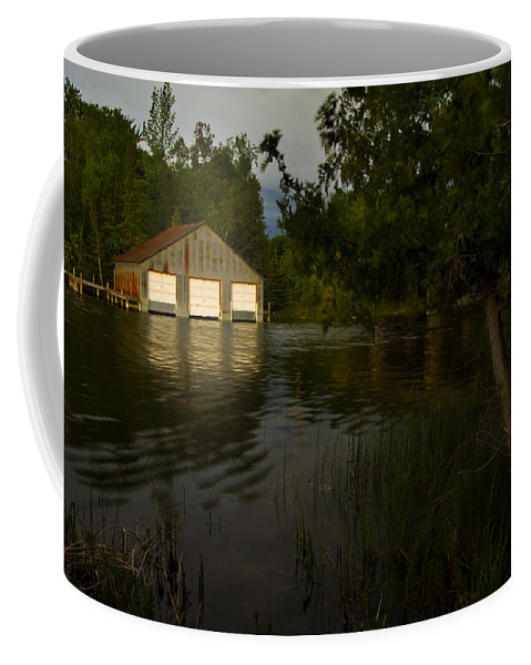 Color Photography Coffee Mug featuring the photograph Early Morning Clam Lake Channel by Frederic A Reinecke