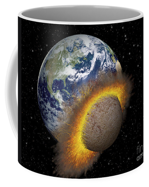 Digitally Generated Image Coffee Mug featuring the digital art Earth Colliding With A Mars-sized by Ron Miller