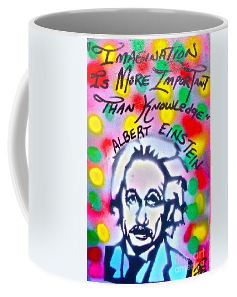 Albert Einstein Coffee Mug featuring the painting Einstein Imagination by Tony B Conscious